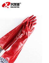 红色PVC防化手套(60CM)ST318