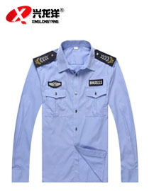 批发定制保安衬衣 酒店物业夏季保安服 小区保安制服蓝色长袖衬衫GZF348