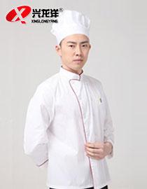 白涤棉带镶边色长袖厨衣JD892