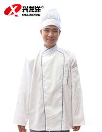 白细斜长袖新款厨衣(兰边)JD895