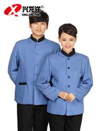 蓝色黑边保洁服 工作服酒店保洁服可定制GZF543