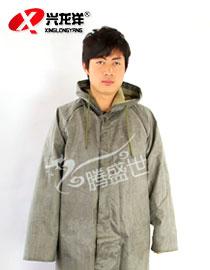 新款连体大袍成人雨披男雨衣帆布抗洪帆布带袖长雨衣GZF488
