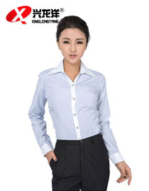 条纹女式职业装 通勤装 行政长袖修身衬衫秋季女式大尖领衬衫GZF514