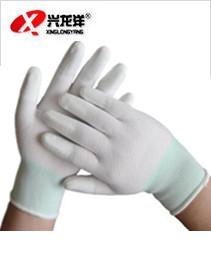 兴龙洋尼龙PU防静电无尘电子劳保透气指尖耐磨涂指涂层手套ST314